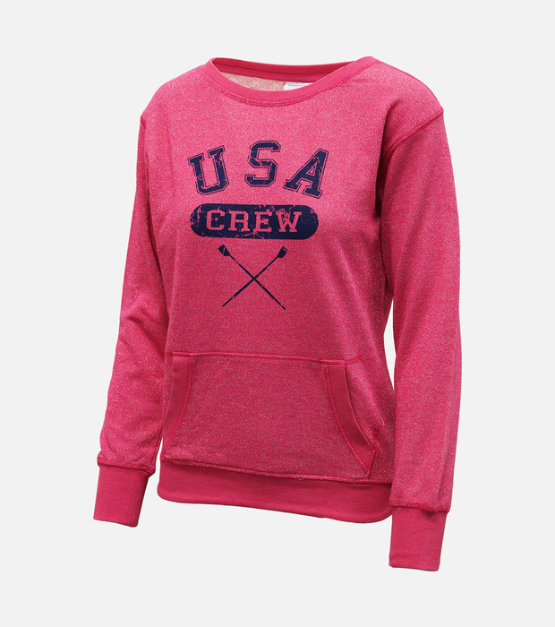 Usa crew pullover womens pink